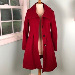 Express Red Pea Coat Size Small